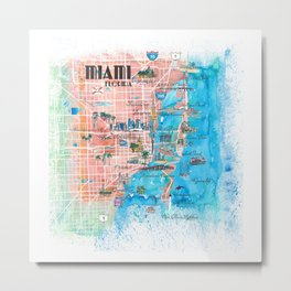 Miami Florida Illustrated Map with Main Roads Landmarks and Highlights Metal Print
