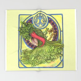 Art nouveau. Spices and vegetables Throw Blanket
