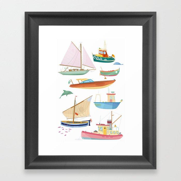 Boats poster Framed Art Print