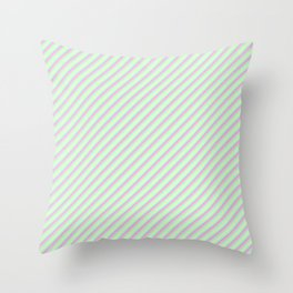 Pastel Tones Inclined Stripes Throw Pillow