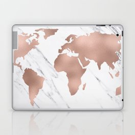 Marble World Map Rose Gold Pink Laptop & iPad Skin