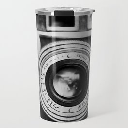 "the ""brick"" ... a vintage camera photograph in back and white Travel Mug"