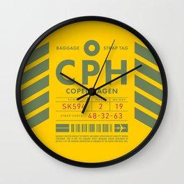 Baggage Tag D - CPH Copenhagen Kastrup Denmark Wall Clock