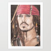 jack sparrow Art Prints featuring Captain Jack Sparrow by JadeJonesArt