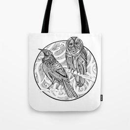 Tui and Morepork Tote Bag