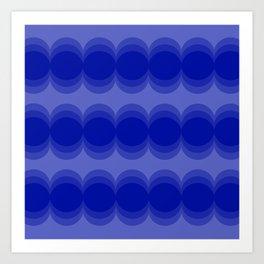 Four Shades of Blue Circles Art Print