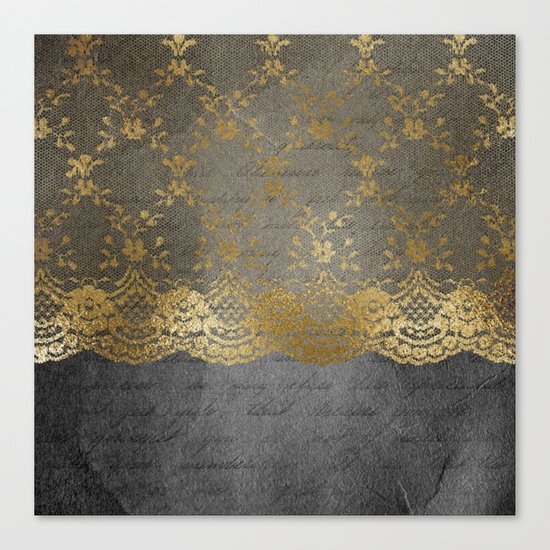 Pure elegance I- gold glitter luxury lace on black grunge background on #Society6 Canvas Print