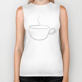 coffee or tea cup - line art Biker Tank
