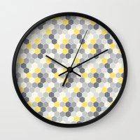 honeycomb Wall Clocks featuring Honeycomb by Amanda Merlin