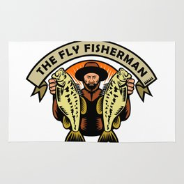 Fly Fisherman Holding Largemouth Bass Woodcut Rug