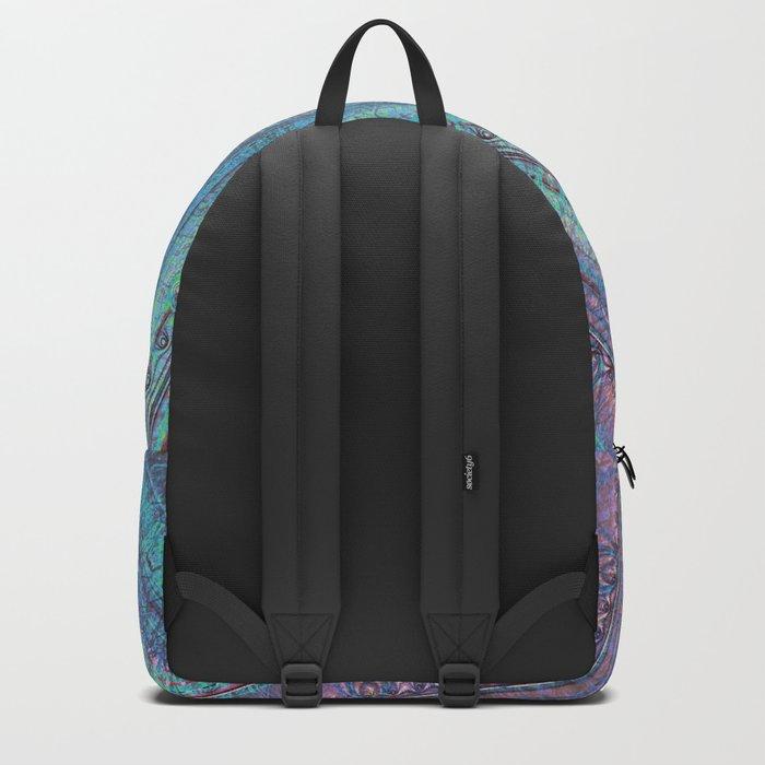 Pink and Turquoise Fractal Mandala Backpack