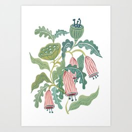 Folk Florals Painting Art Print