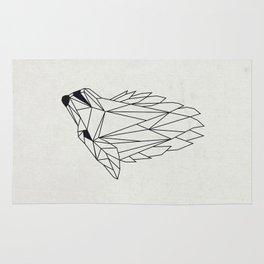 Geometric Howling Wild Wolf Rug