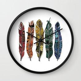 boho rainbow feathers Wall Clock