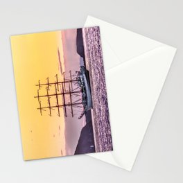 Frigate at sunset Stationery Cards