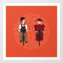 Retro cyclists Art Print