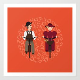 Retro cyclists Art Print