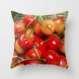 Cherries in a Basket Close Up Throw Pillow