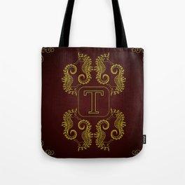 Monogram T seahorse Tote Bag