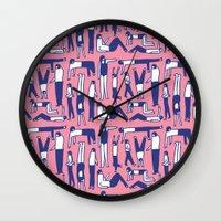 kim sy ok Wall Clocks featuring OK by Regina Rivas Bigordá