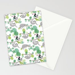 Happy Sloth Jungle Party Stationery Cards