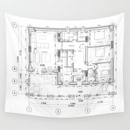 Detailed architectural private house floor plan, apartment layout, blueprint. Vector illustration Wall Tapestry