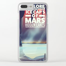 Explore the Southern ice caps of Mars Hidden Lakes. Clear iPhone Case