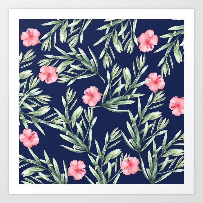 Delicate Hibiscus Blue Art Print