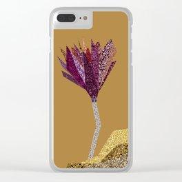 Purple Flower (orange) Clear iPhone Case