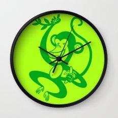 Green Monkey Wall Clock