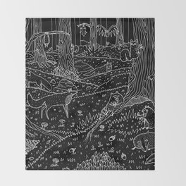 Nocturnal Animals of the Forest Throw Blanket