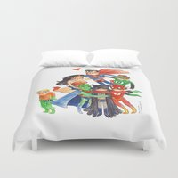 justice league Duvet Covers featuring Justice League Hug! by Super Group Hugs