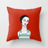 wasted rita Throw Pillows featuring Rita by Minsi Design