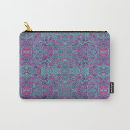 Birds Arabesque, Bohemian Pattern, Fuchsia Turquoise Carry-All Pouch