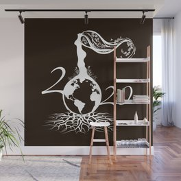 Mother Earth 2020 - White Outline On Brown Wall Mural
