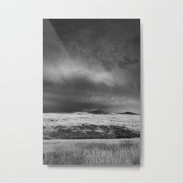 Tree on a Stormy Field Metal Print