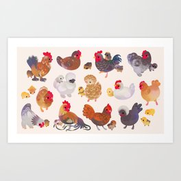 Chicken and Chick Art Print