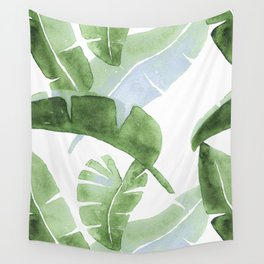 Tropical Leaves Green And Blue Wall Tapestry