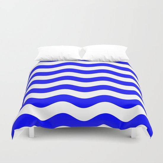 Wavy Stripes (Blue/White) Duvet Cover
