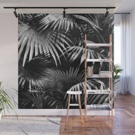 Tropical Botanic Jungle Garden Palm Leaf Black White Wall Mural