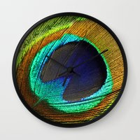 feathers Wall Clocks featuring feathers by mark ashkenazi