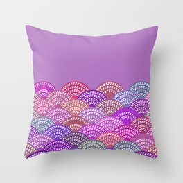 seigaiha wave lilac purple pink colors abstract scales Throw Pillow