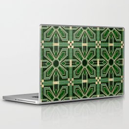 Art Deco Floral Tiles in Emerald Green and Faux Gold Laptop & iPad Skin