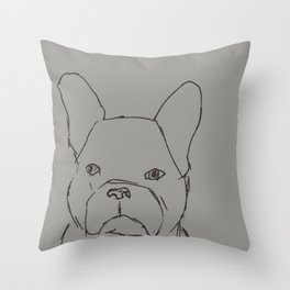 Sketched Frenchie (Grayscale) Throw Pillow