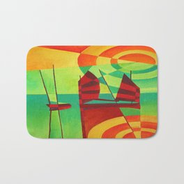 Chinese Junks On Still Waters Bath Mat