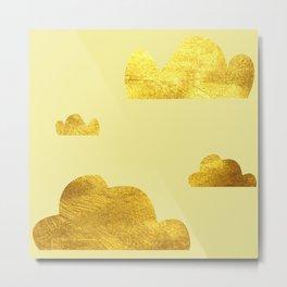 Gold clouds yellow Metal Print