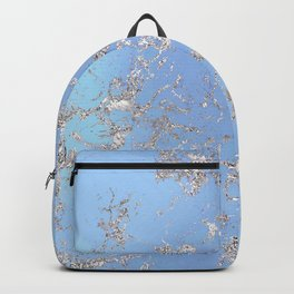 Celestial Blue Marble With Silver Glitter Veins Backpack
