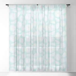Citrus Wheels - Blue and White Sheer Curtain