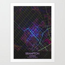 BRAMPTON Night City Map Art Print
