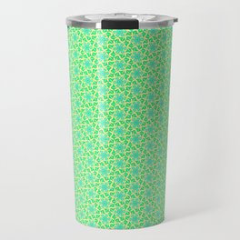 Turquoise Propeller Mint Green and Blue Petals on Butter Cream Yellow Springtime Country Kitchen Des Travel Mug